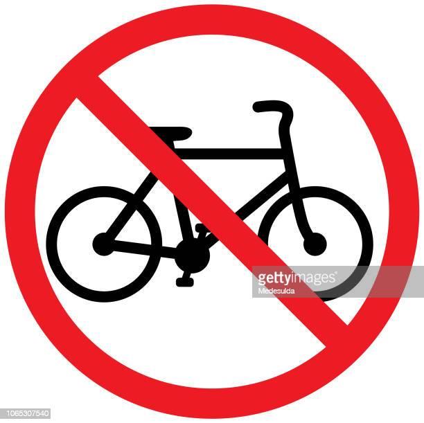 ilustraciones, imágenes clip art, dibujos animados e iconos de stock de signo símbolo bicicleta - prohibido