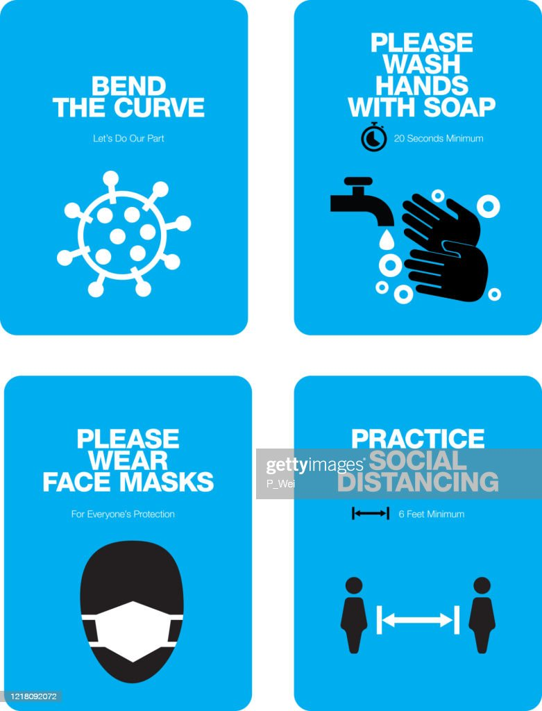 COVID Sign Templates : stock illustration