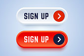 Sign up buttons in 3d style with arrow sign.