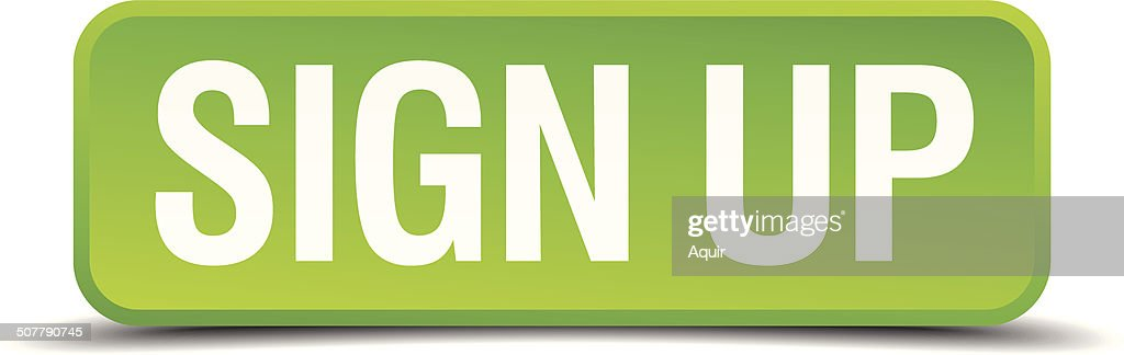 Sign up green 3d realistic square isolated button