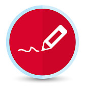 Sign up icon flat prime red round button