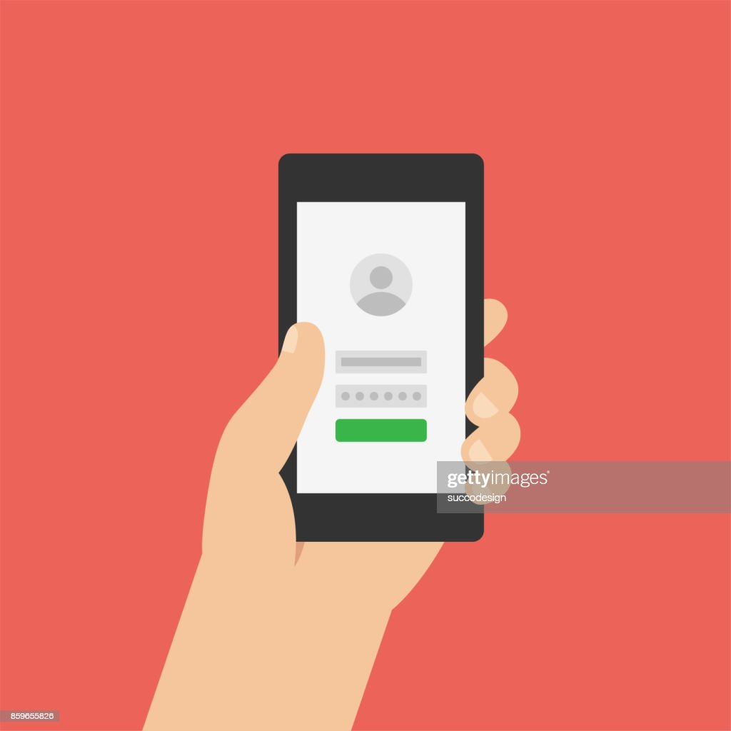 Sign up, log in page on smartphone screen. Hand holds the smartphone. Modern Flat design illustration.