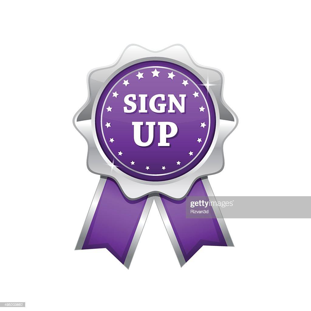 Sign Up Violet Vector Icon Design