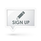 sign up with pen icon on a speech bubble