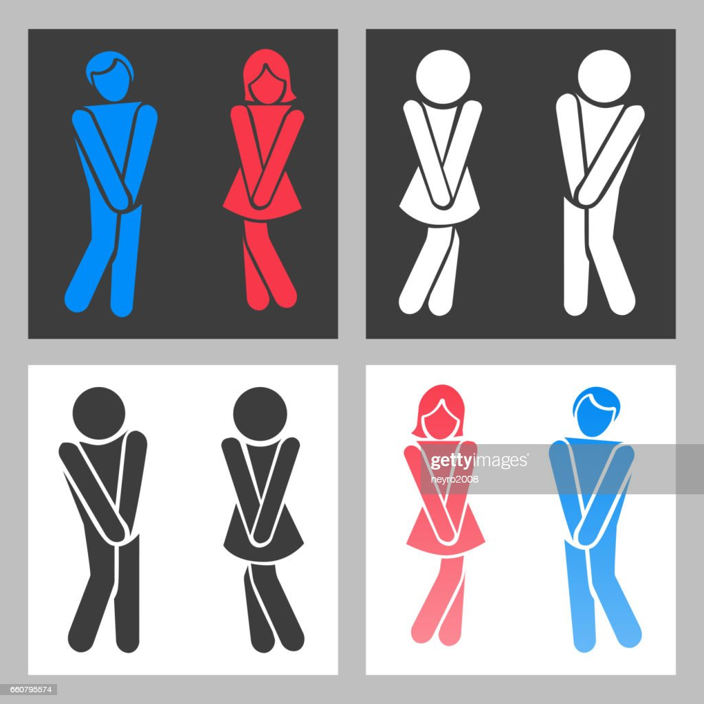 WC sign. Vector funny boy and girl toilet icons or female male bathroom symbols