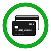 CREDIT CARDS ACCEPTED sign. Vector icon