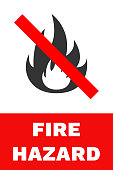 FIRE HAZARD sign. Vector
