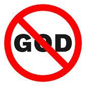 NO GOD sign. Vector
