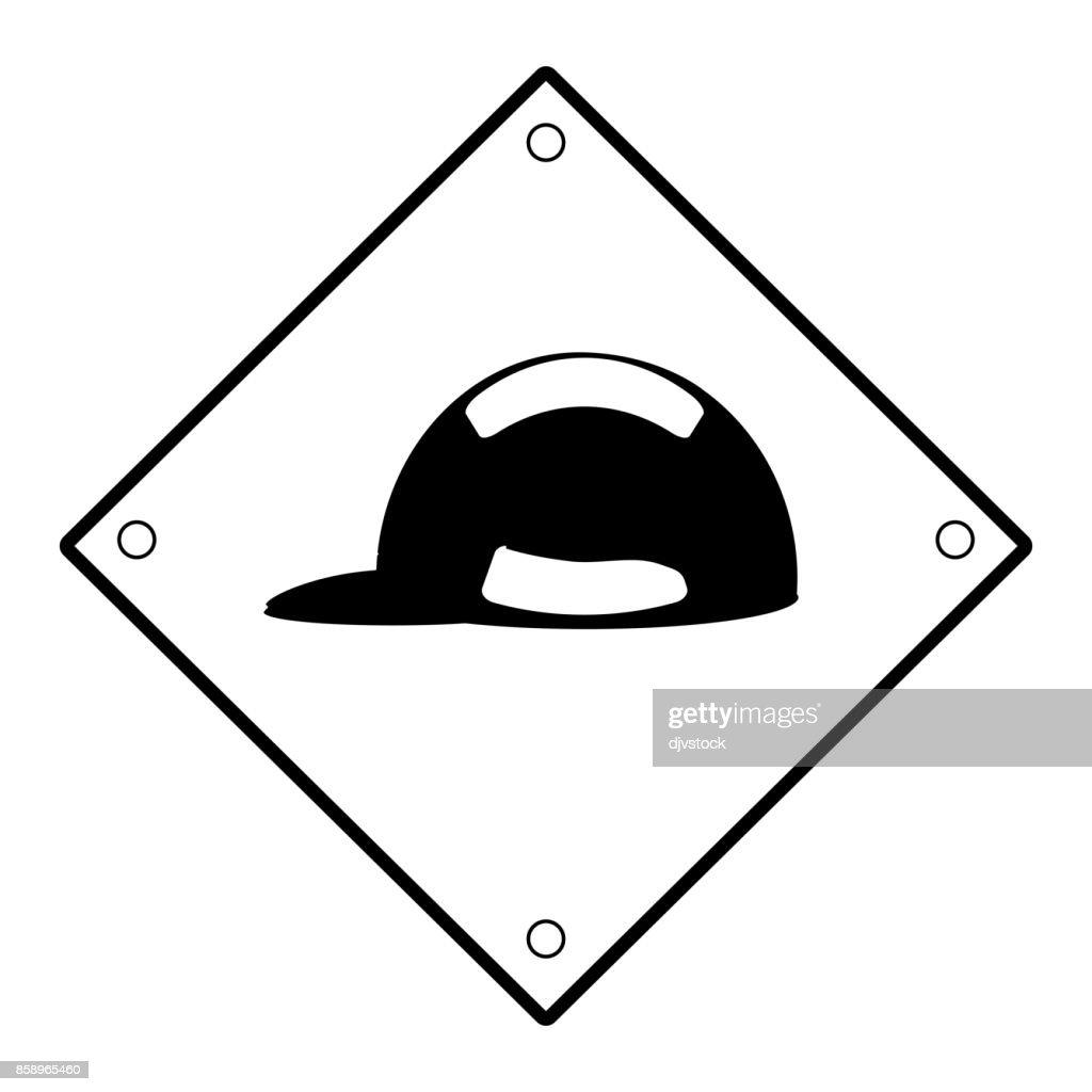 sign warning use helmet  vector illustratio