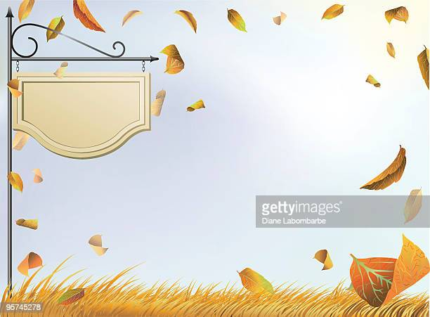 Sign With Autumn leaves