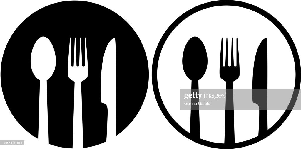 sign with spoon, fork and knife