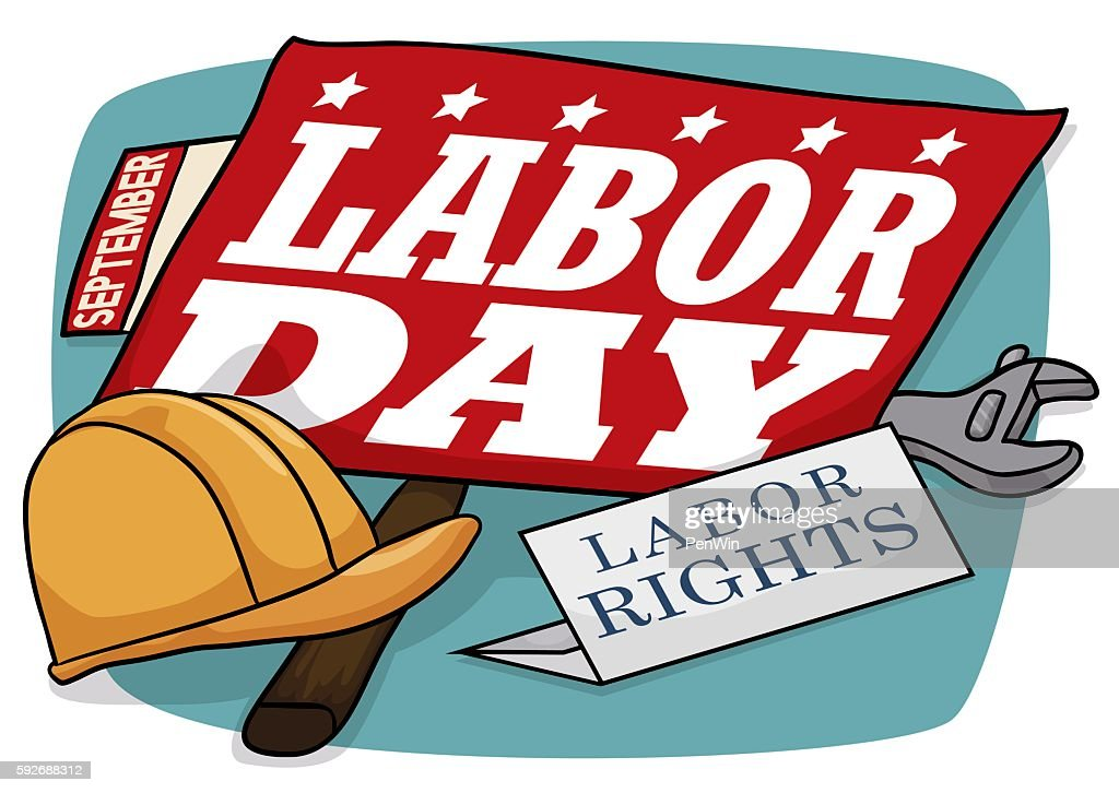 Sign with Work Tools and Calendar Reminder Commemorating Labor Day