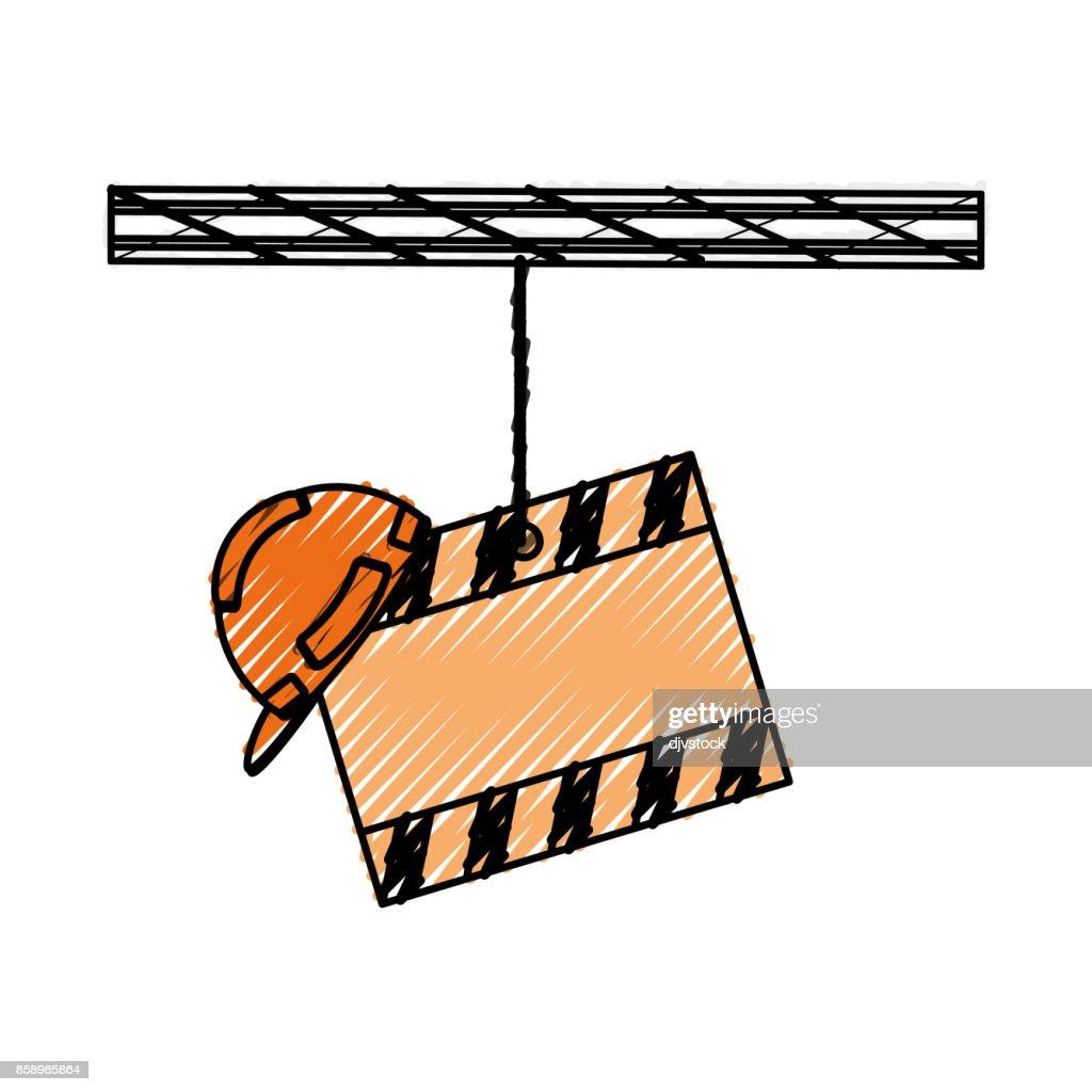 signal construction and helmet use  warning vector illustratio