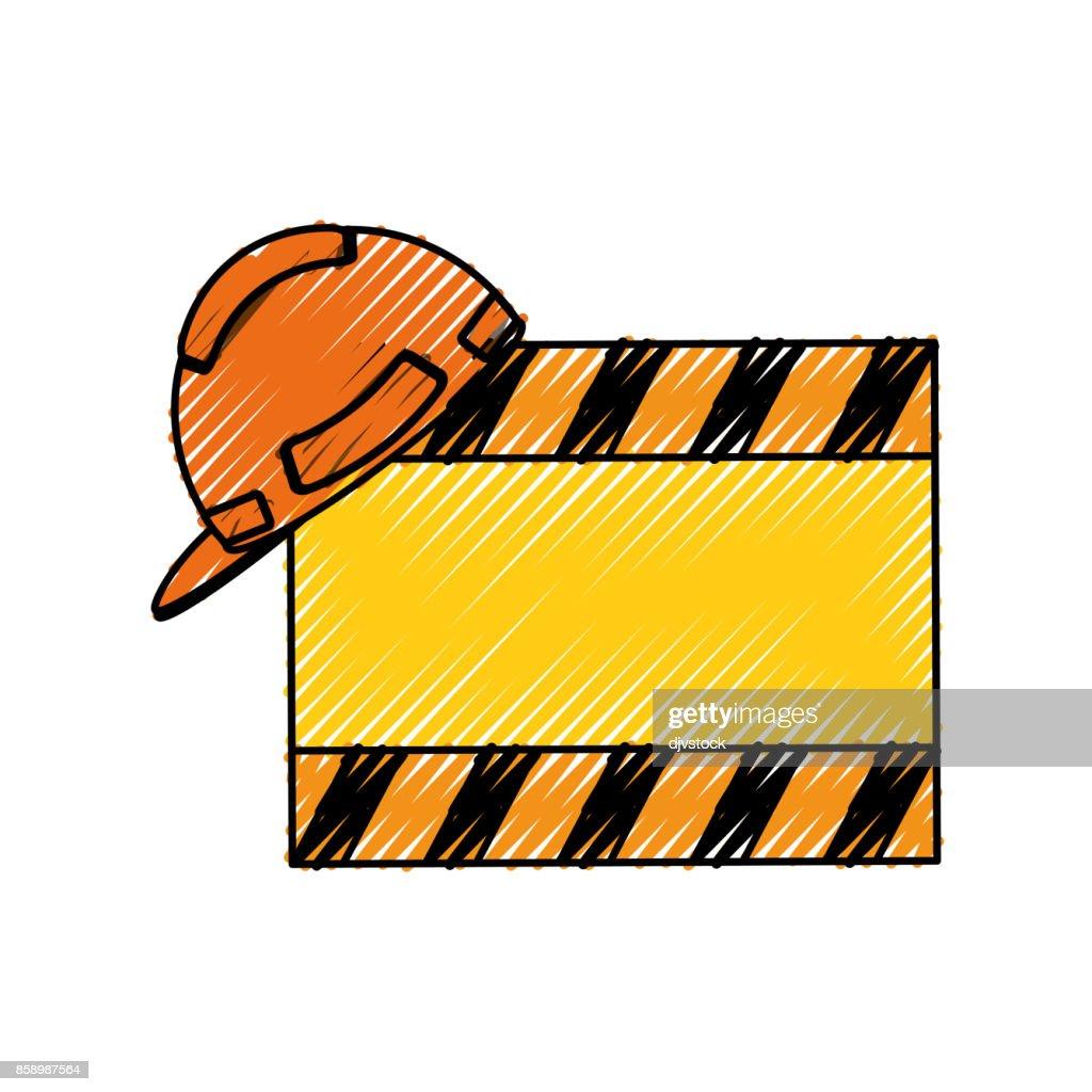 signal construction  and helmet  vector illustrati