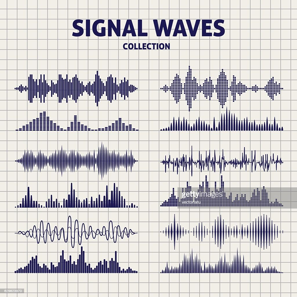 Signal waves sketch icons
