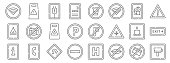 signals prohibitions line icons linear set