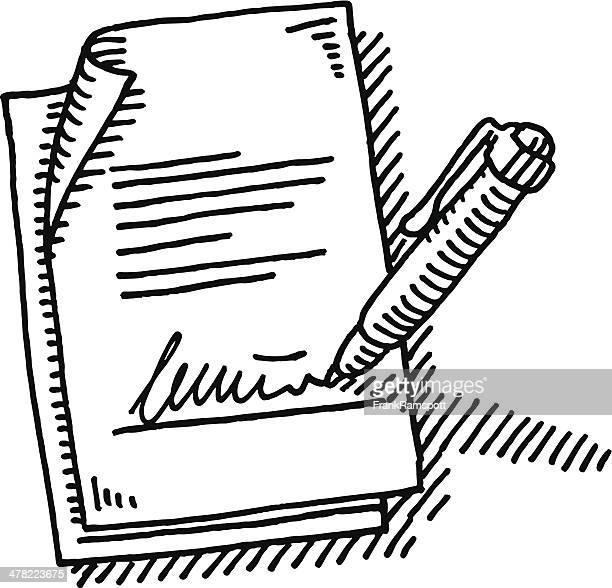 stockillustraties, clipart, cartoons en iconen met signature agreement pen drawing - ondertekenen schrijven