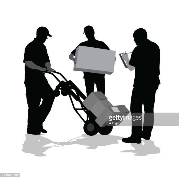 signature delivery - hand truck stock illustrations, clip art, cartoons, & icons