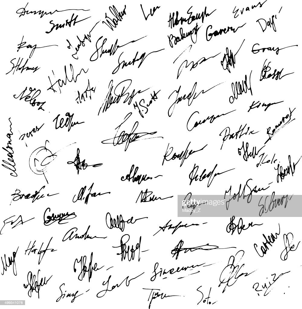 Signatures set. Abstract Business autograph illustration.