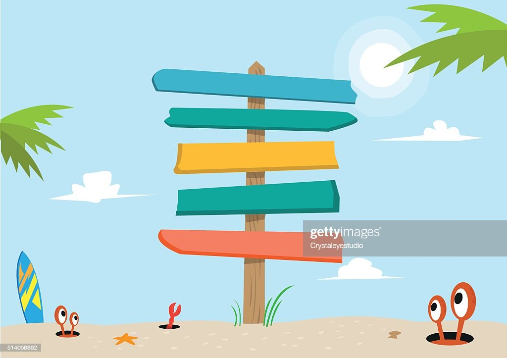 Signboard on a beach concept. Editable Clip Art.