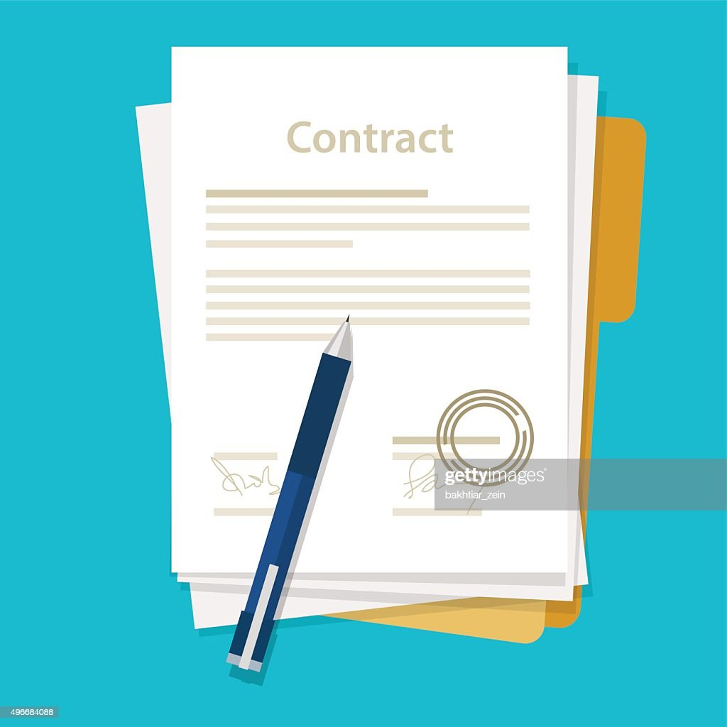 signed paper deal contract icon agreement  pen on desk  flat
