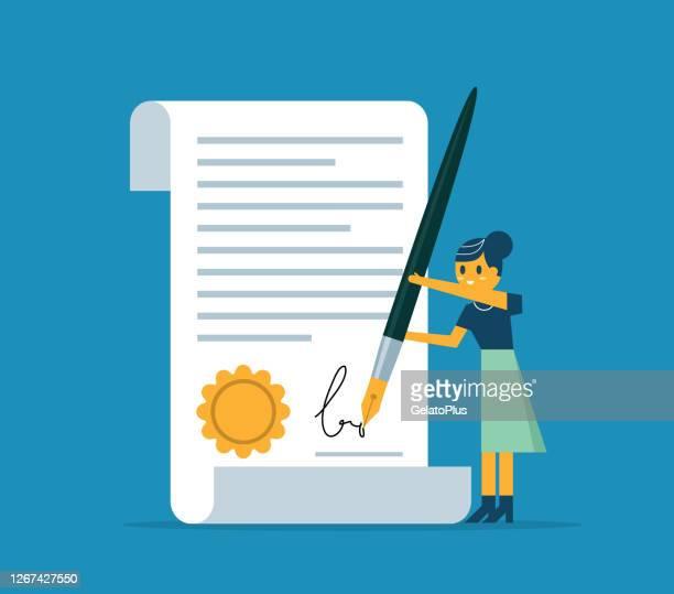 契約に署名 - ビジネスウーマン - 証書点のイラスト素材/クリップアート素材/マンガ素材/アイコン素材