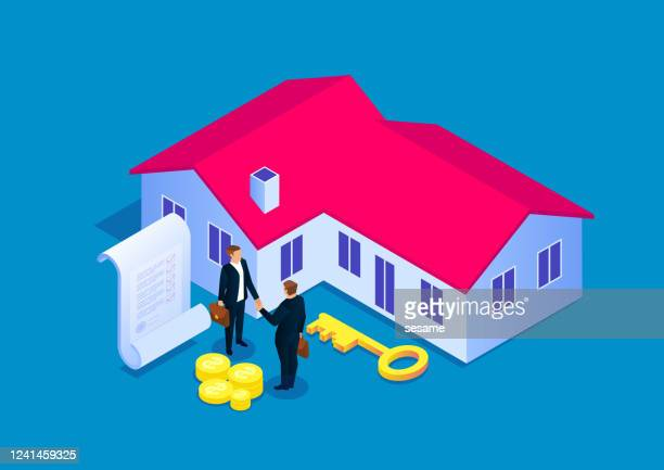 signing a contract for house purchase, real estate transaction - mortgage loan stock illustrations