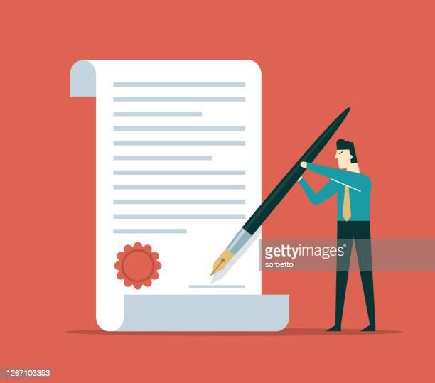 契約に署名する - 証書点のイラスト素材/クリップアート素材/マンガ素材/アイコン素材