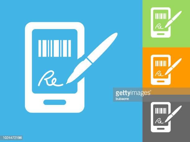 ilustrações, clipart, desenhos animados e ícones de assinatura para compra ícone plana sobre fundo azul - assinatura