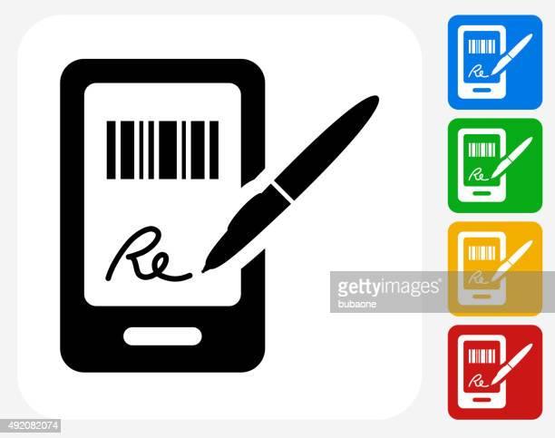 ilustraciones, imágenes clip art, dibujos animados e iconos de stock de firmar para comprar iconos planos de diseño gráfico - firma
