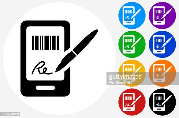 ilustraciones, imágenes clip art, dibujos animados e iconos de stock de signing for purchase icon on flat color circle buttons - firma