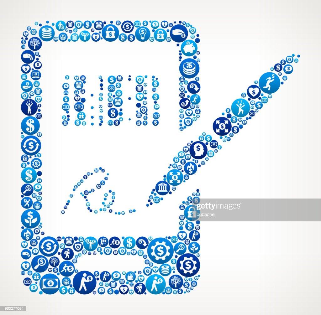 購入金青いアイコン パターン背景のため署名 ベクトルアート getty images