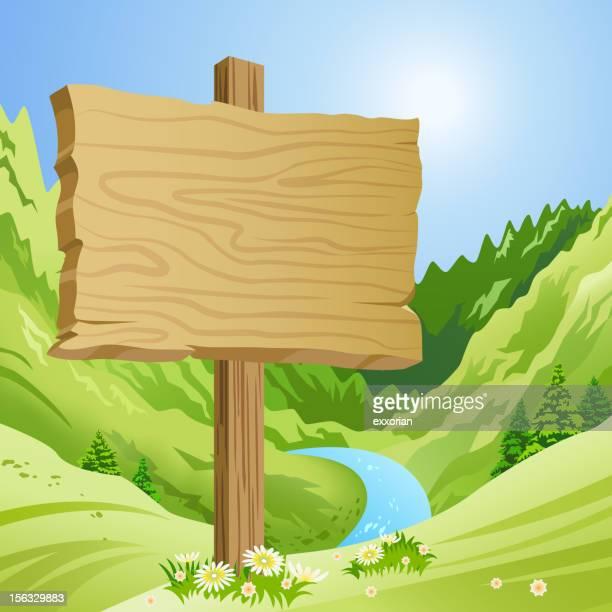 illustrazioni stock, clip art, cartoni animati e icone di tendenza di cartello di montagna in primavera - manifesto