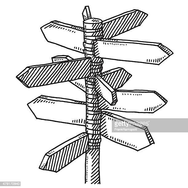 signpost multiple directions drawing - directional sign stock illustrations