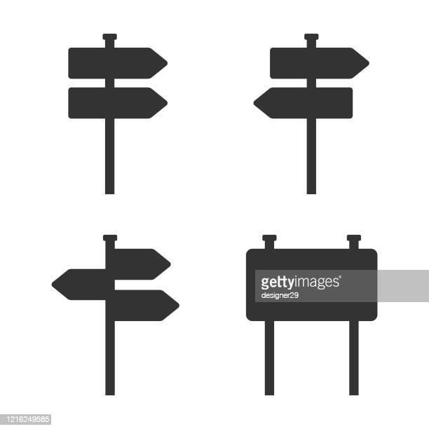 wegweiser oder straßenschild icons vektor-design. - wegweiser stock-grafiken, -clipart, -cartoons und -symbole