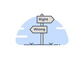 Signpost with 2 choices between right and wrong. Isolated Vector illustration