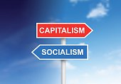 "Signs ""Capitalism"" and ""Socialism"" over sky"