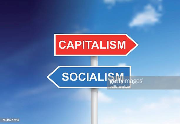 "signs ""capitalism"" and ""socialism"" over sky - socialism stock illustrations"