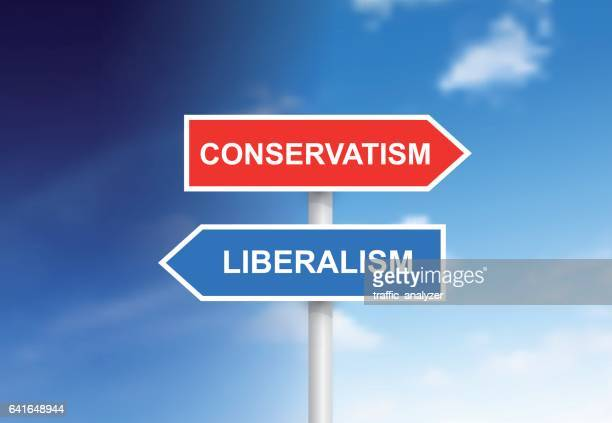 """signs """"conservatism"""" and """"liberalism"""" over sky - us republican party stock illustrations, clip art, cartoons, & icons"""