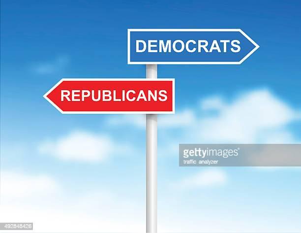 "signs ""democrats"" and ""republicans"" over sky - politics and government stock illustrations, clip art, cartoons, & icons"