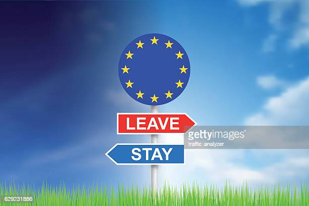 "signs ""leave"" and ""stay"" over sky - overcast stock illustrations, clip art, cartoons, & icons"