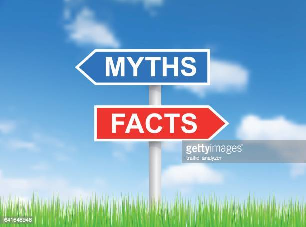 "Signs ""Myths"" and ""Facts"" over sky"