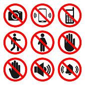 NO CAMERAS, NO PHONES, NO ENTRY signs. NO SOUND, DO NOT TOUCH symbols. Forbidden icon set. Vector
