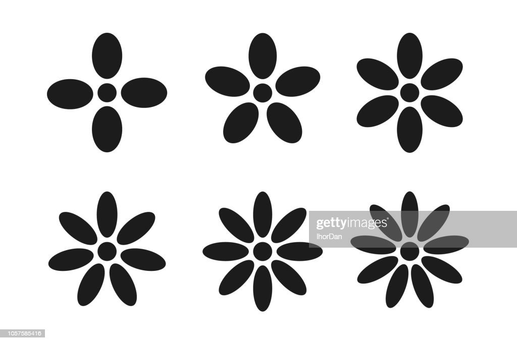 Signs of square, pentagon, hexagon, heptagon, octagon, nonagon petal flowers icon.
