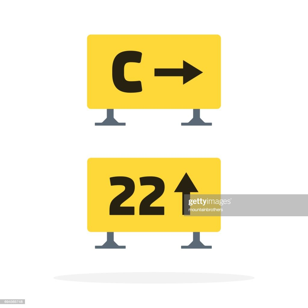 Signs on the runway vector flat material design isolated object on white background.