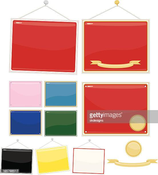 signs, placards: set of 10 - red, white, black, more - memorial plaque stock illustrations, clip art, cartoons, & icons