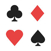 Signs playing cards. Casino isolated signs red black color. Poker signs.