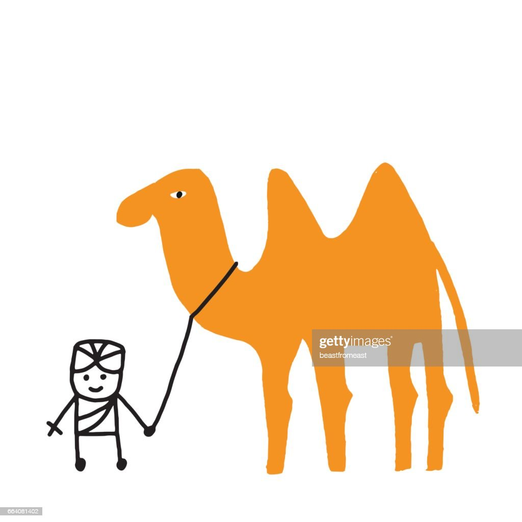 Sikh and camel on the leash