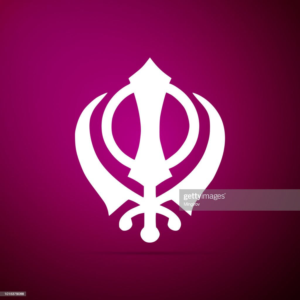 Sikhism religion Khanda symbol icon isolated on purple background. Khanda Sikh symbol. Flat design. Vector Illustration