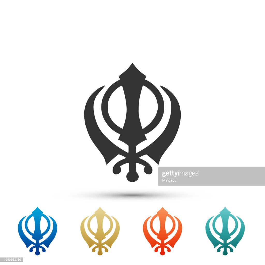 Sikhism religion Khanda symbol icon isolated on white background. Khanda Sikh symbol. Set elements in colored icons. Flat design. Vector Illustration